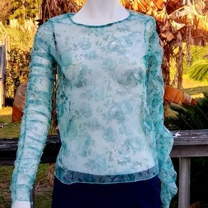 ZARA Green/White marble netted shear top small NWT
